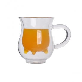 China glass milk cup with handle factory