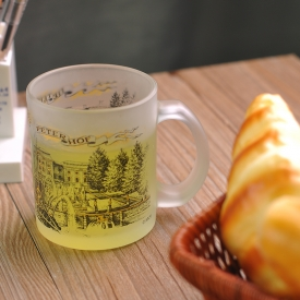 China glass milk cup with picture factory