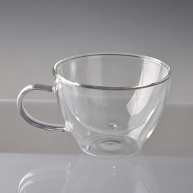 China glass milk cup with stainless steel factory