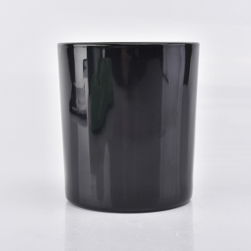 China glossy black glass container for candle making factory