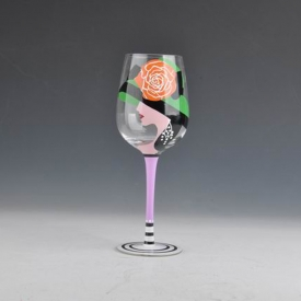 China handmade martini cocktail cup painting glassware wine goblet factory