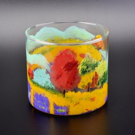 China home deco glass hand painted candle holders factory