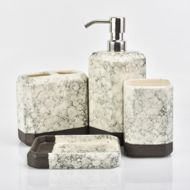 China home deco square ceramic bathroom accessories with marble finish factory