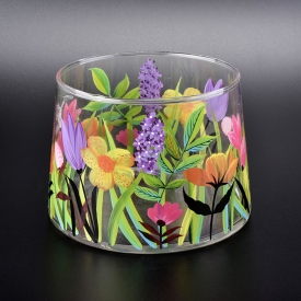 China luxury hand painted glass candle holders factory