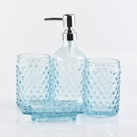 China luxury hotel decorative blue glass bathroom sets factory