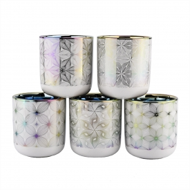 China luxury iridescent ceramic candle jar with printing artwork factory