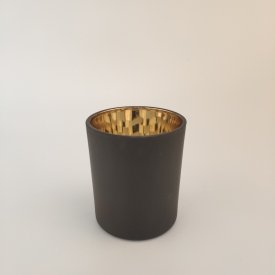China matte black glass candle vessel with gold inside factory