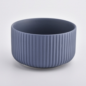 China matte blue ceramic candle container with lines factory