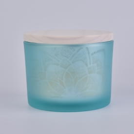 China matte blue decorative glass candle container with wooden lid factory