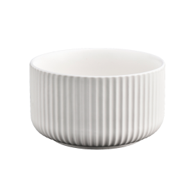 China matte white ceramic candle holder with lines factory
