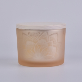 China matte yellow glass candle jar with wooden lid factory