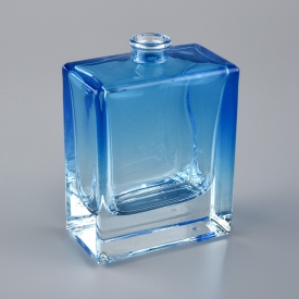 China ombre blue square glass perfume bottle factory
