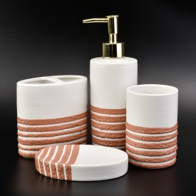 China orange line decorated ceramic bathroom sets factory