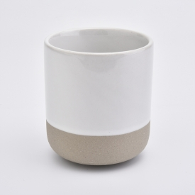 China popular round shape white ceramic candle jar factory