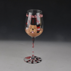 China shar per dog painted martini glass fábrica