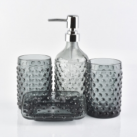 China smoky gray glass bottles glass tumblers glass soap dish for bathroom for hotel factory
