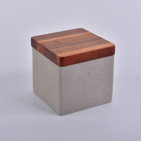 China square concrete candle containers with wood lid factory