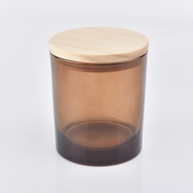 China translucent amber glass candle vessel with wooden lid factory