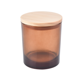 China translucent brown glass candle holder with wood lid factory