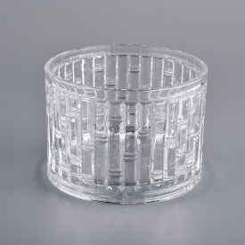 China wedding candleholder crystal embossed custom candle glass factory