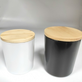 China white and black glass candle container with lid factory