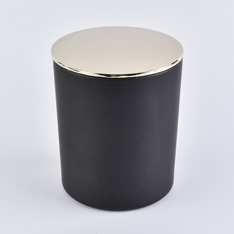 10 Oz Black Glass Candle Jar With Lid On Okcandle Com