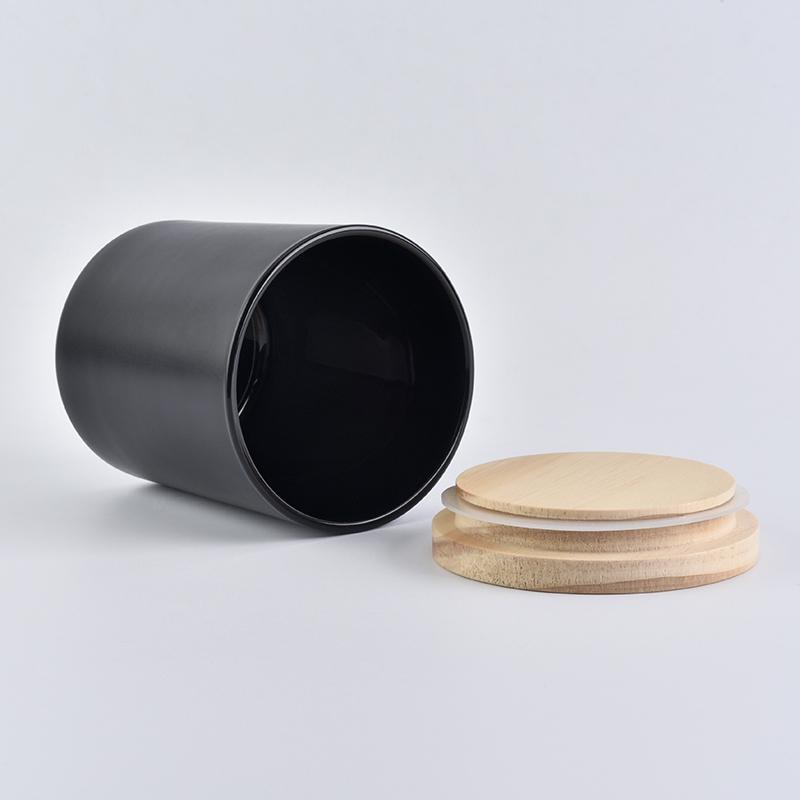 10 Oz Black Glass Candle Jar With Lid On Okcandle Com