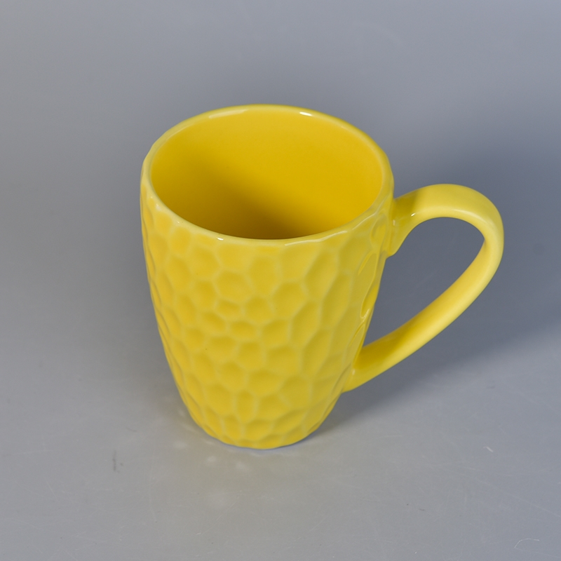 10oz Hammered Style Yellow Ceramic Coffee Mug