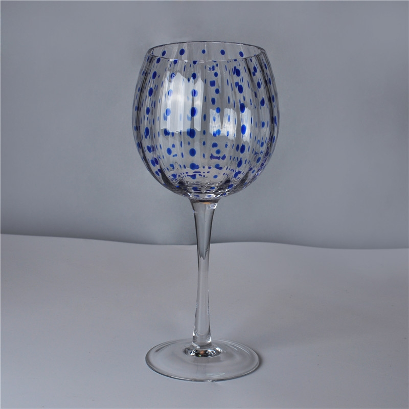 630 Ml Clear Mouth Blown Martini Glass Blue Dot Glassware