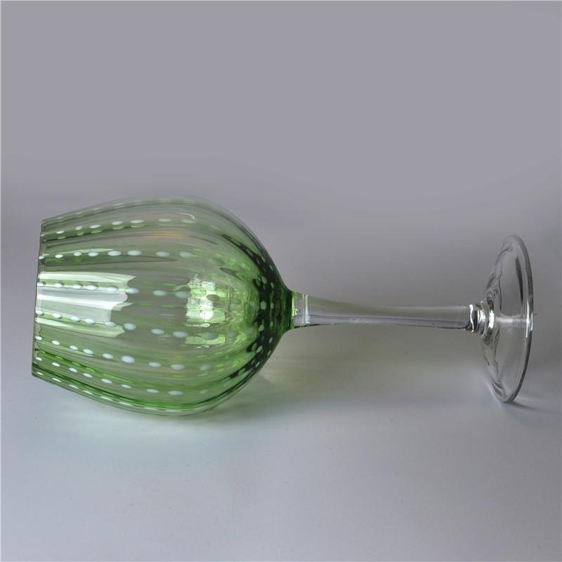 630ml Green Mouth Blown Martini Glass Glassware