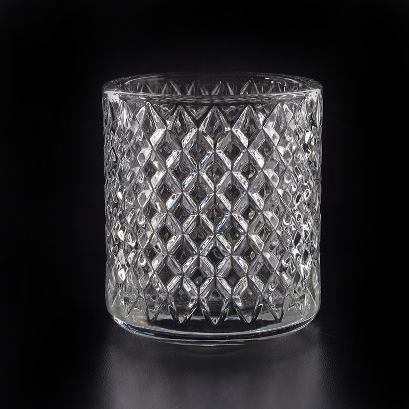 8oz Hot Sale Faceted Crystal Clear Glass Candle Jars Wholesale