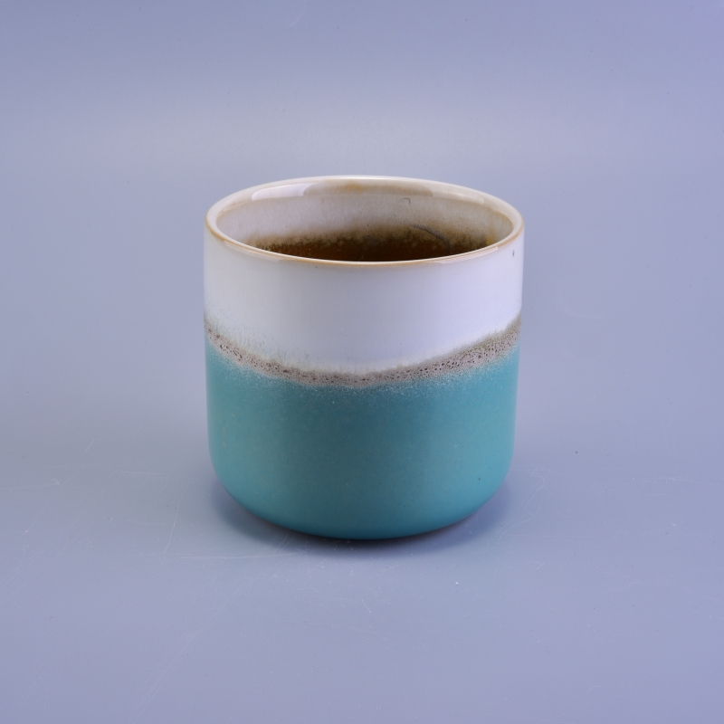Vintage Transmutation Glazed Ceramic Candle Container With
