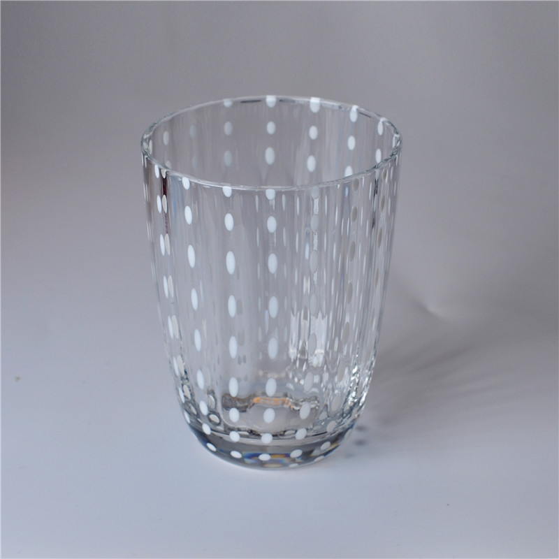 Clear mouth blown decorative glass candle jar for Designer glass jars