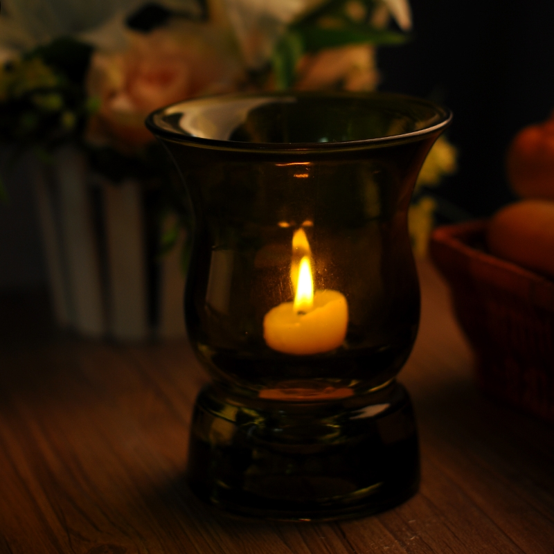 Colored material Candle holder,clear glass tea light ...