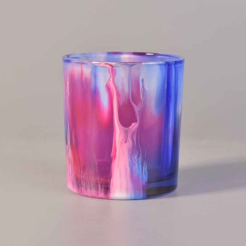 Colorful Cylinder Spray Paint Candle Holder Wedding