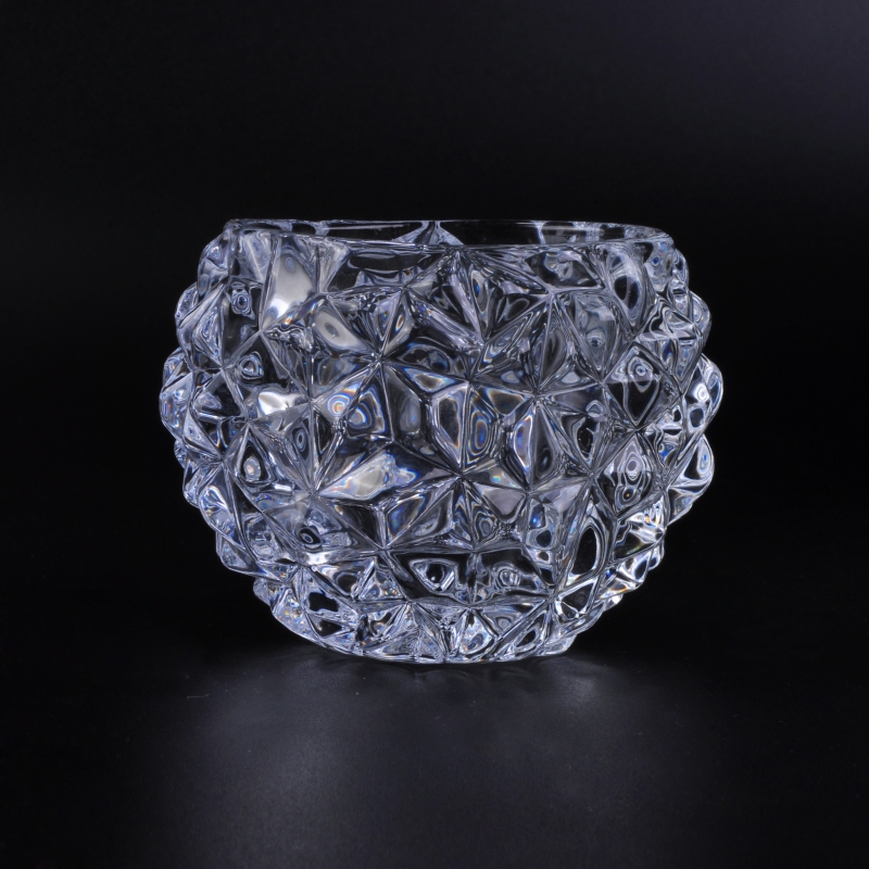 Crystal Diamond Pattern Glass Tealight Holder Glass