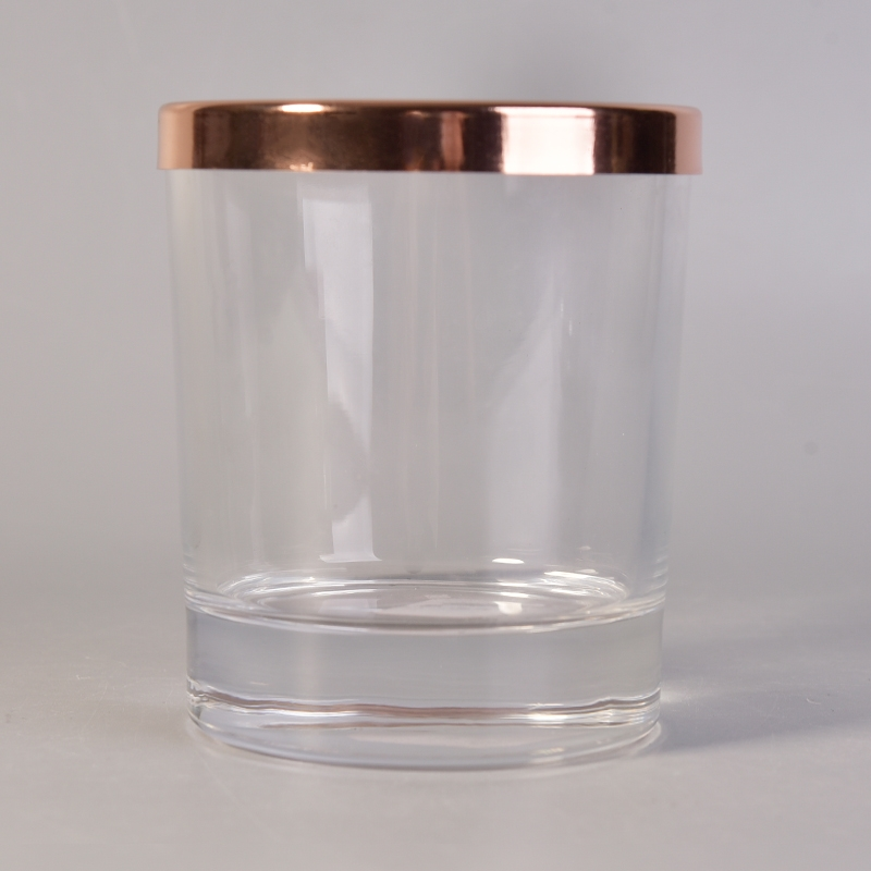 Custom High Quality Clear Glass Candle Holders With Rose