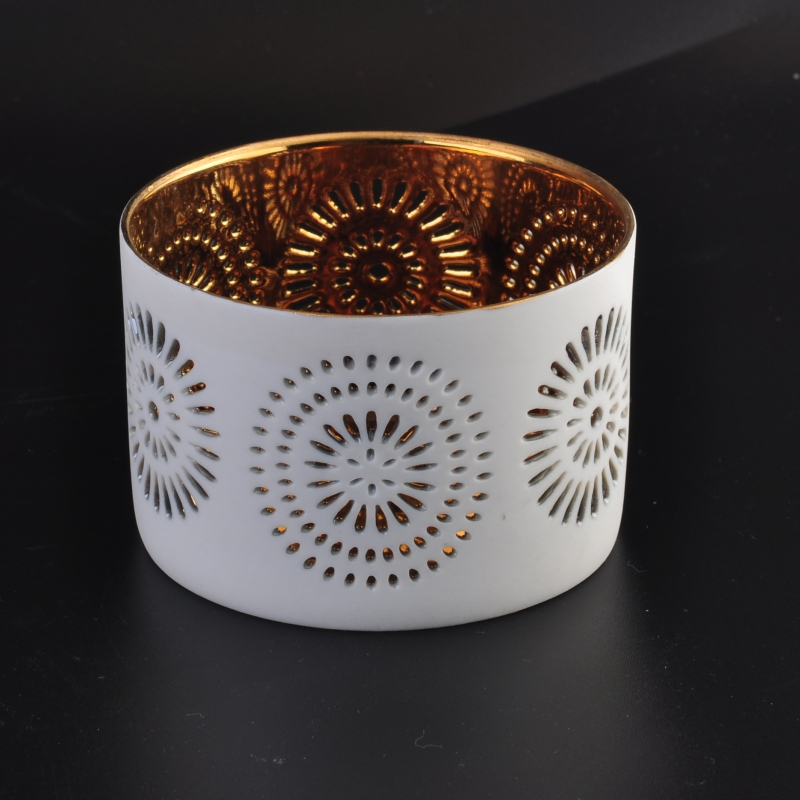 Electroplating ceramic candle container candle holders wholesale