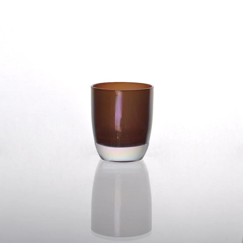 Bronze glass candle holders bronze finish stemmed for Lederstuhl grau