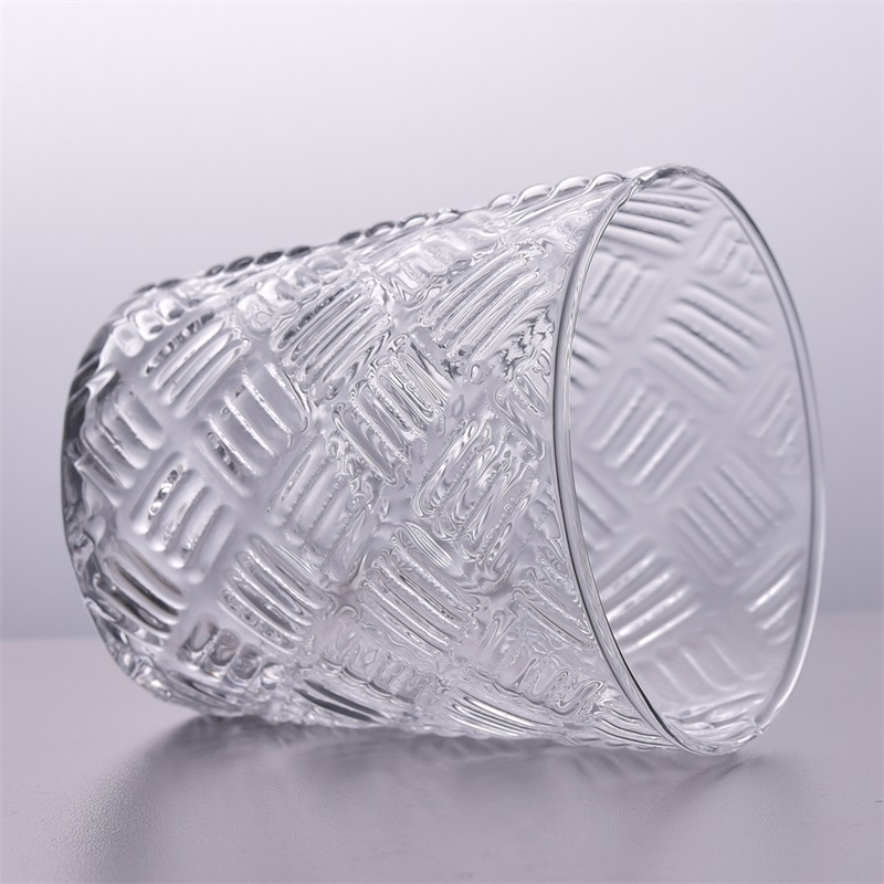 Emboss Pattern Clear Votive Glass Candle Holders Candle