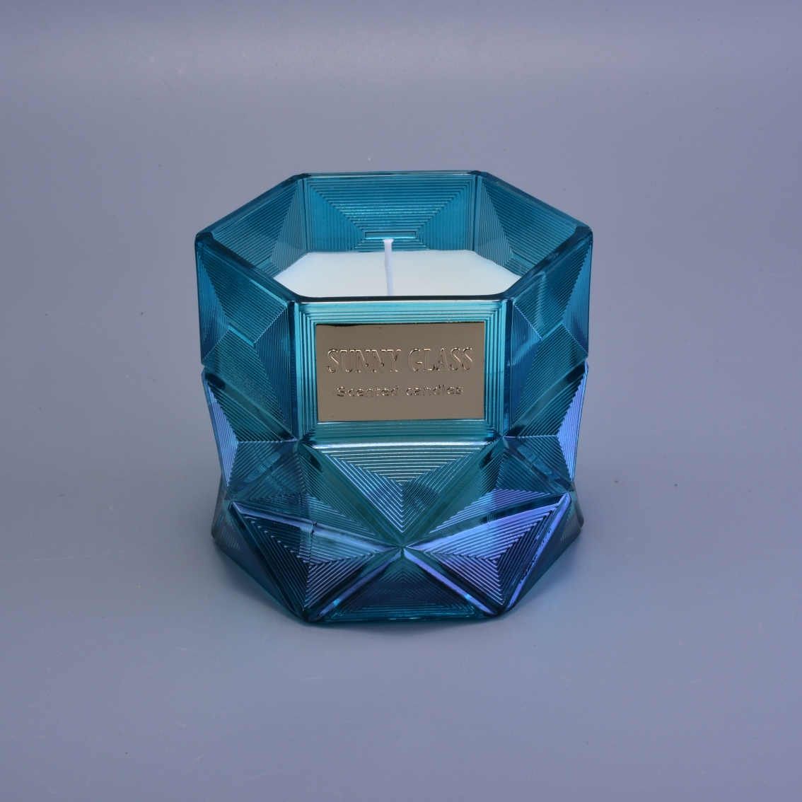 Glass Candle Jars With Polygon Design For Home Decor