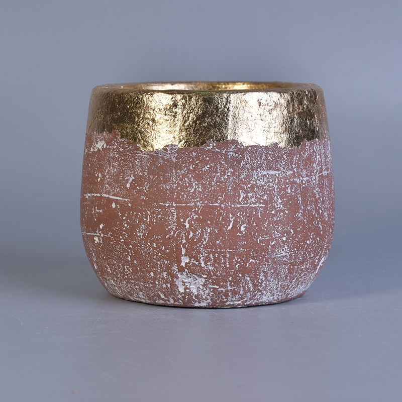 Gold Rim Ceramic Candle Jar With Color Glazing Glazing