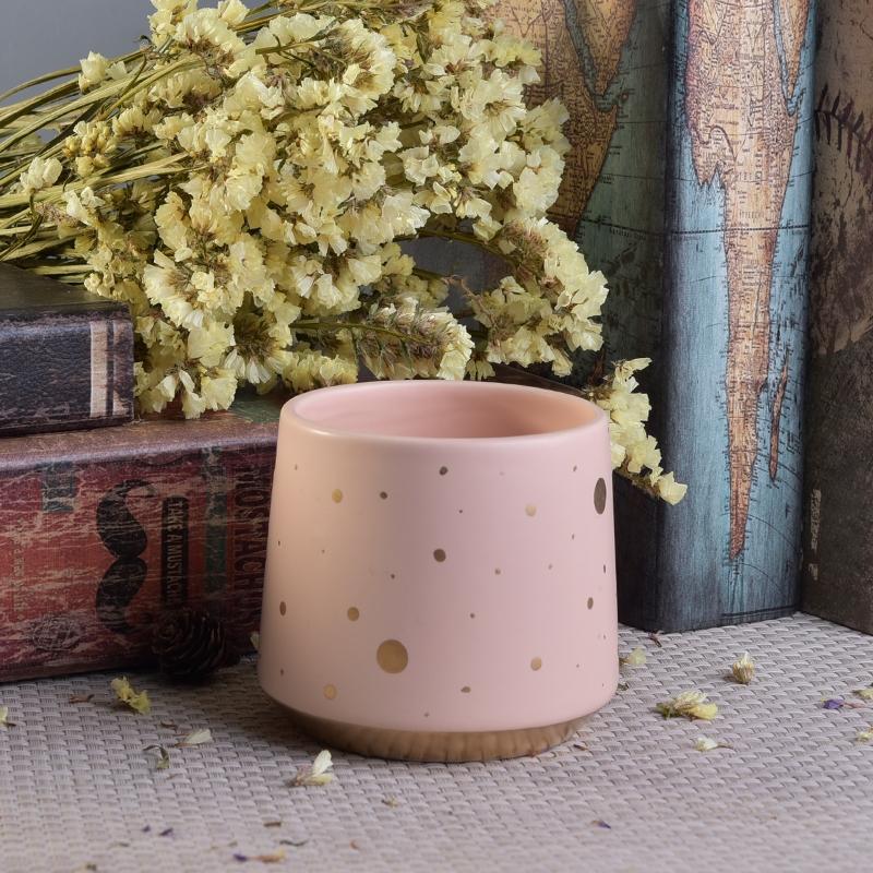 Gold dot print unique design ceramic candle jars wholesale