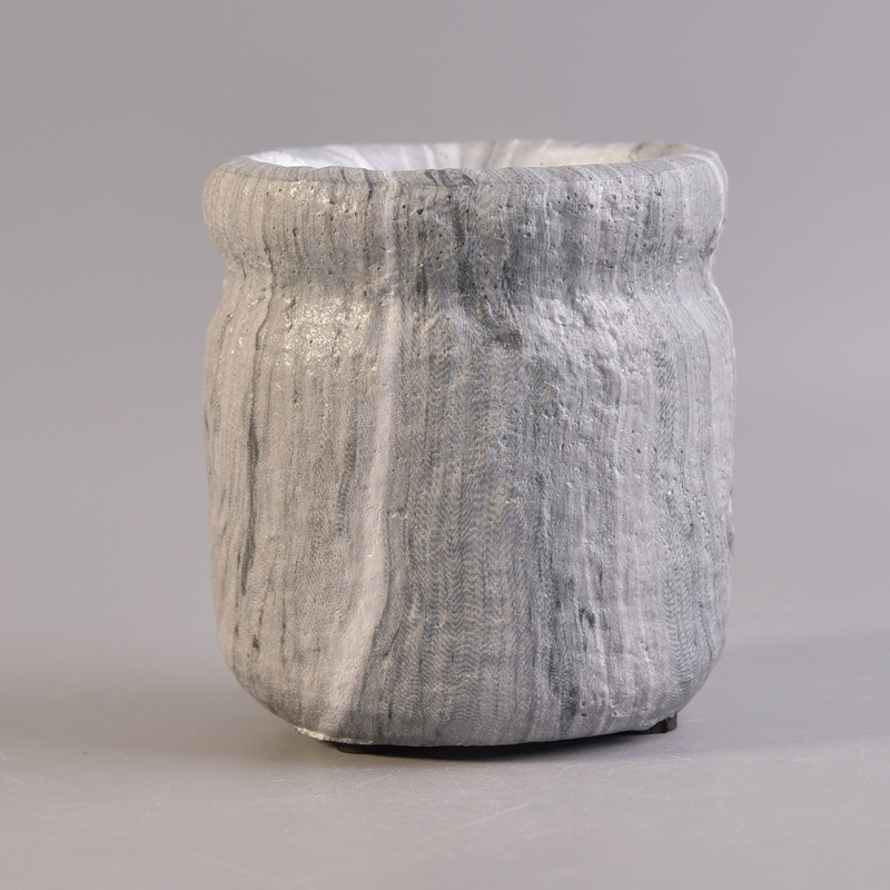 Grey cement wholesale container for candle,china ceramic candle