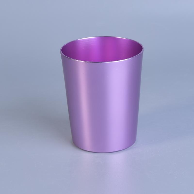 Home Decor Wholesale Suppliers: Light Violet V Shape Metal Candle Jars For Home Decor