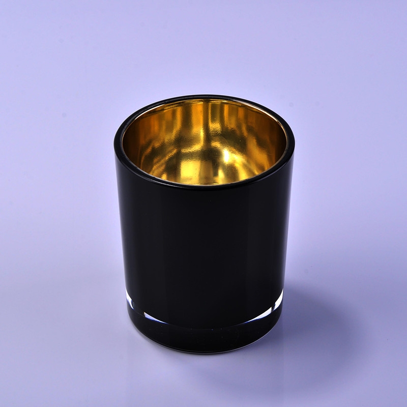 Luxury Black And Gold Painting Votive Glass Candles Jar