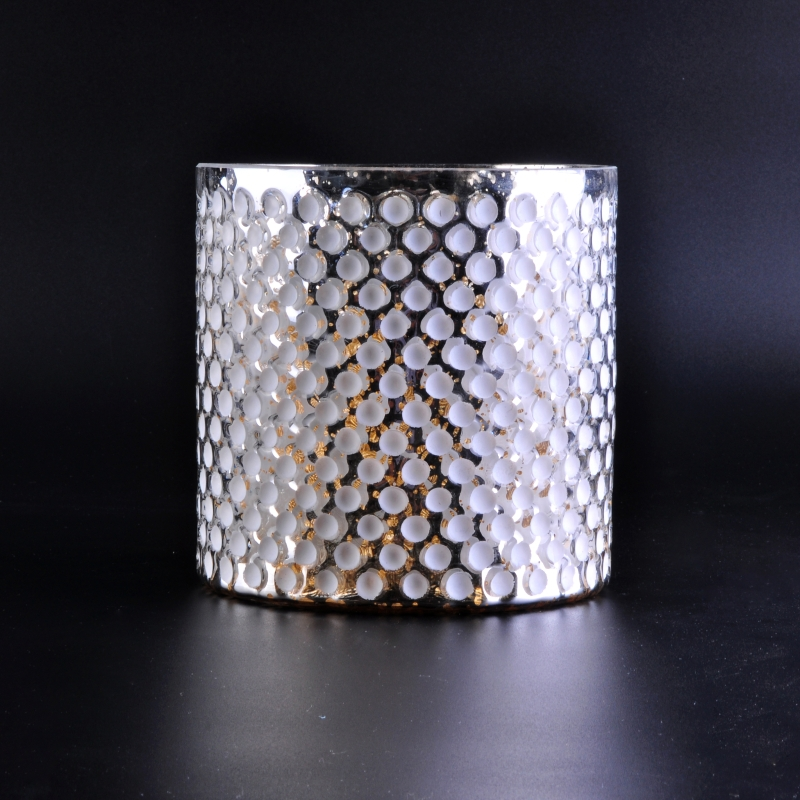 Luxury Silver Glass Candle Holder With White Dots Glass