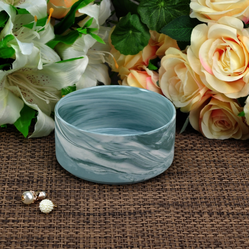 Marble texture round shape ceramic candle holder with for Best brand of paint for kitchen cabinets with hanging crystal candle holder