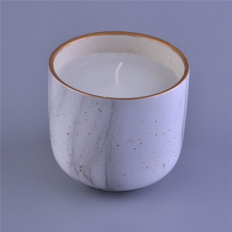 Marble Water Transfer Decaling Ceramic Candle Jar With