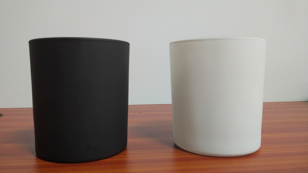 Matte Black Glass Candle Vessel Home Decorative Glass